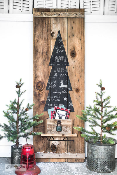Learn how to make this charming rustic Christmas tree vertical sign using Tall Christmas Tree in Crate and Christmas Crates from Funky Junk's Old Sign Stencils!