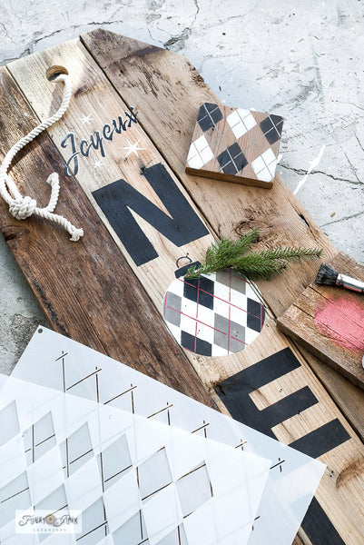 Stencil a rustic Joyeux Noel Christmas Sign with an Argyle ornament with Funky Junk's Old Sign Stencils!