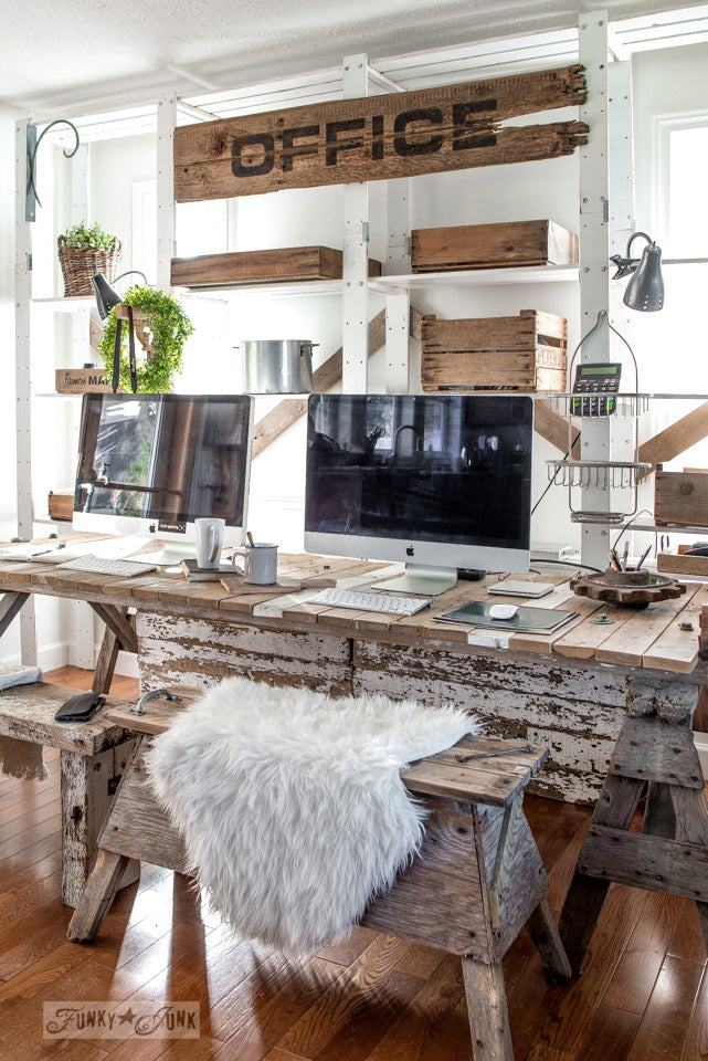 Reclaimed Wood Rustic Home Office: Office Stencil By Funky Junk's Old Sign Stencils