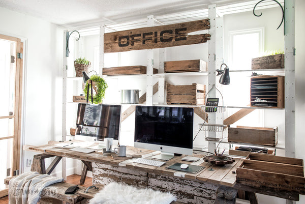 Make this large Office sign on reclaimed wood easily with a stencil, loaded with farmhouse charm using Funky Junk's Old Sign Stencils!