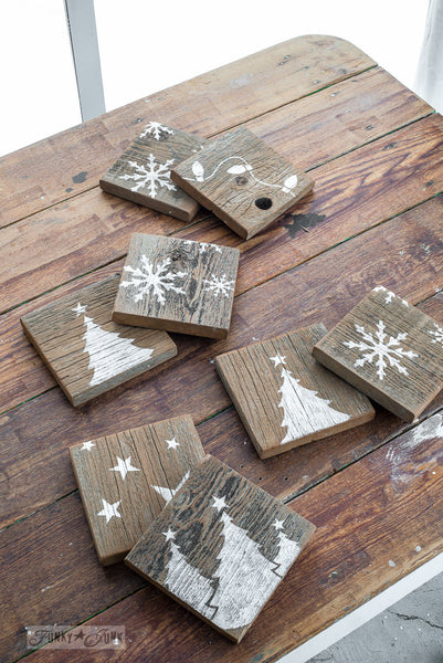 Reclaimed wood coasters, stenciled with Christmas Graphics by Funky Junk's Old Sign Stencils