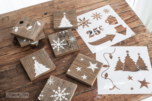 Reclaimed wood coasters made with Winter Graphics by Funky Junk's Old Sign Stencils. Paint professional looking winter themed designs consisting of 3 sizes of snowflakes, hot cocoa, 2 arrows, and 25 cents this stencil! All designs on one sheet.