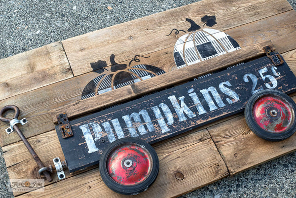 Learn how to create this charming Buffalo Checked pumpkin wagon using Pumpkins 25 Cents, Pumpkins and Buffalo Check from Funky Junk's Old Sign Stencils! Click to stencils and full tutorial.