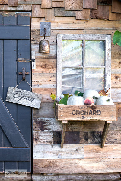Make a sweet rustic fall window box using scrap wood and You Pick Orchard from Funky Junk's Old Sign Stencils! Click to stencil and to view tutorial link!
