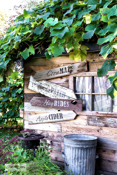 Learn how to make these charming rustic directional fall signs using scrap wood and Funky Junk's Old Sign Stencils! Click to this stencil listing, and to the link that leads to the tutorial!