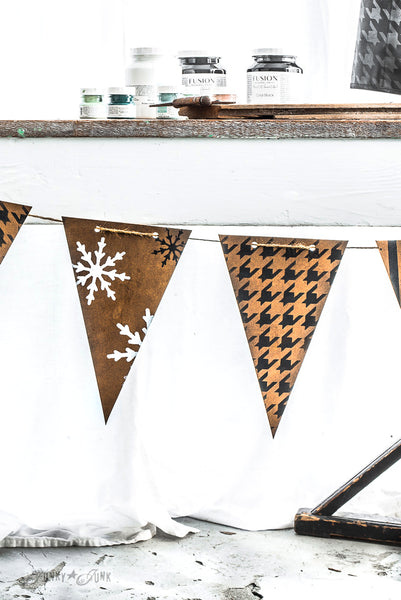 Create this adorable patterned banner with Winter Graphics, Buffalo Check, Plaid, Houndstooth and more with Funky Junk's Old Sign Stencils