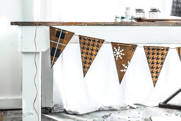 Create this adorable patterned banner with Buffalo Check, Plaid, Houndstooth and more with Funky Junk's Old Sign Stencils