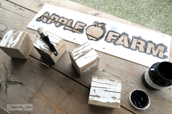 Apple Farm stencil by Funky Junk's Old Sign Stencils. Celebrate your love for fall produce, by painting your own apple farm sign onto wood or old crates! Includes a whimsical apple graphic.