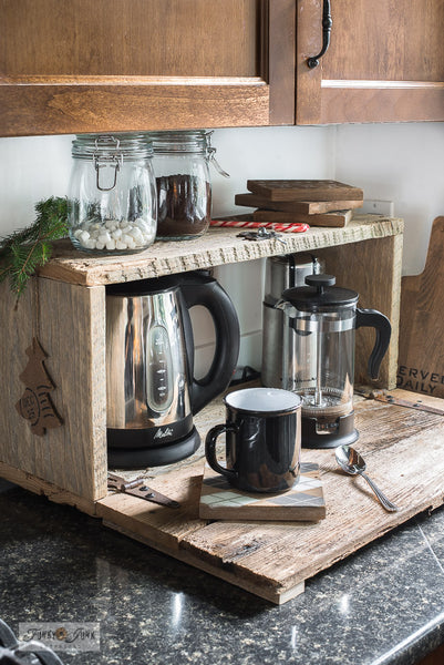 Create a charming Hot Cocoa appliance garage with reclaimed wood and Funky Junk's Old Sign Stencils!