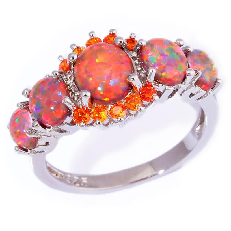 Orange Fire Opal Garnet Silver Ring