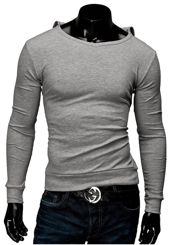 2015 New Arrival Mens Solid Tops Tees T-Shirt Men Cotton  Men's T-shirt With Hat Long Sleeve Men T- Shirt