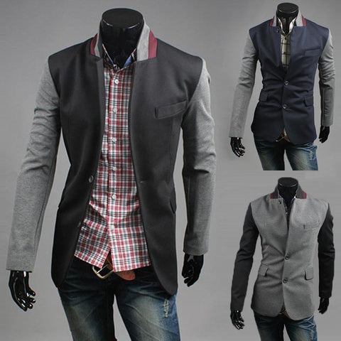 2015 New Arrival High Quality Fashion Men Suit Brand Blazer Men Casual Slim Clothing Suit Patchwork Top Selling 3 Color