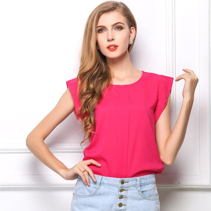 2015 New European Style Chiffon Women Blouse Solid Summer Blouse Free Shipping O-Neck Short Sleeve Drop Shipping Blouse