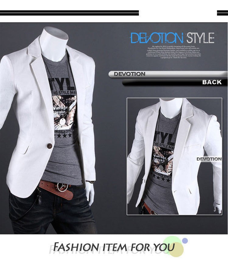 2015 New Arrival Single Button Leisure Blazers Men Male Fashion Slim Fit Casual Men Suit  Solid Blazer Dress Clothing  6 Colors