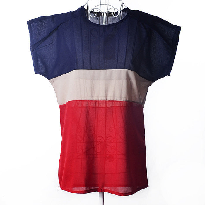 2015 New European Style Chiffon Women T-shirt Patchwork Summer Style Free Shipping O-Neck t shirt Drop Shipping 6 Size S-XXXL