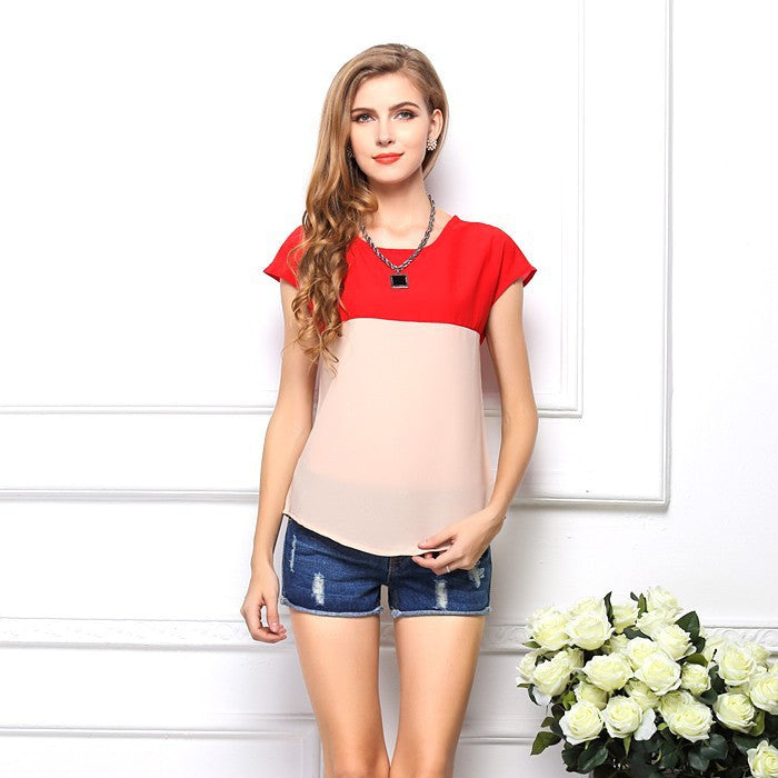 2015 New Korean Style Chiffon T-Shirt Patchwork Summer Women T-shirt Free Shipping O-Neck Casual T-shirt Drop Shipping  6 Colors