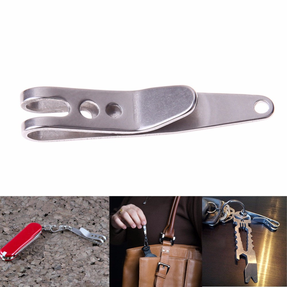 Free Shipping EDC Bag Suspension Clip with Key Ring Carabiner Stainless Steel Outdoor Quicklink Tool