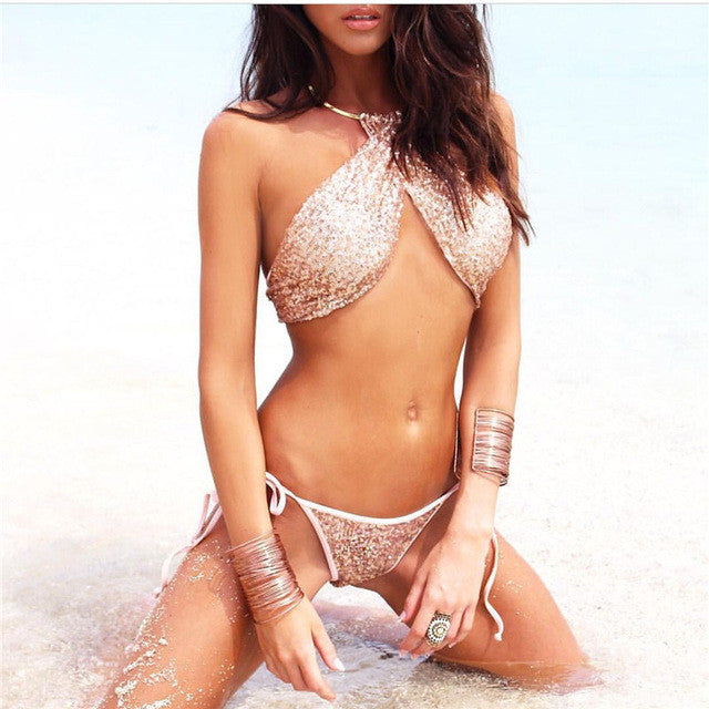 Sexy Bikini Bandage Swimwear Women Bling Sequin Bikinis Set Solid Swimsuit Bathing Biquini Maillot De  Bain Tankini BJ282