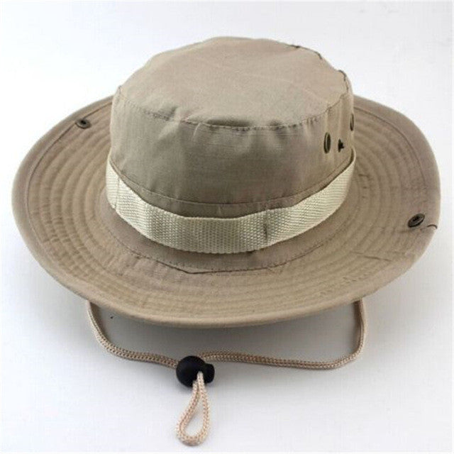 Camouflage Bucket Hats Wide Brim Sun Cap Ripstop Camo Fishing Hunting Hiking Men Safari Summer Jungle with String Boonie Hat