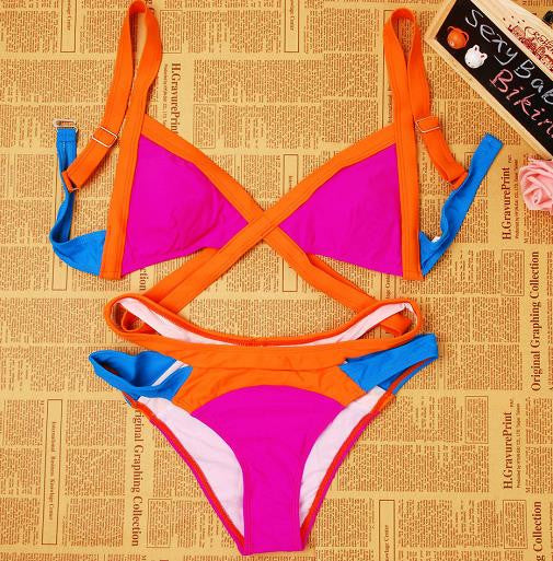 2016 New Swimsuit Summer Sexy Bikini Dynamic Bordered Color Bandage Brand Gini Bikinis Set Swimwear Brazilian Biquini Plus Size