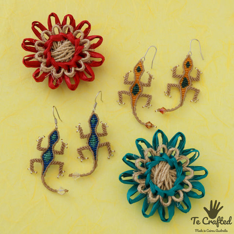 Gecko macrame earrings
