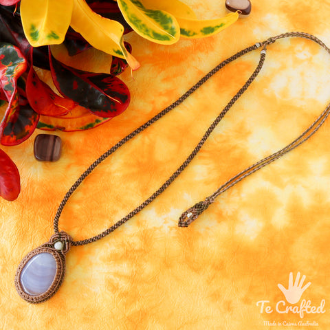 Blue lace agate macrame necklace a
