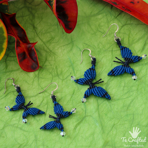 Butterfly shaped macrame earrings