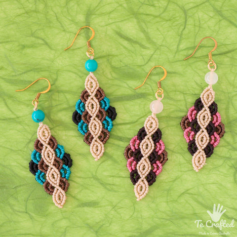 Colourful rhombus shaped macrame earrings