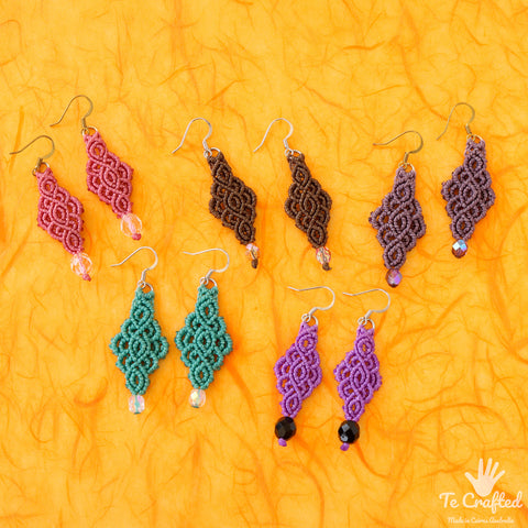 Fish scales macrame earrings