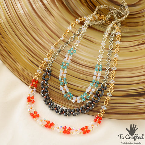 Beaded flat flower necklace