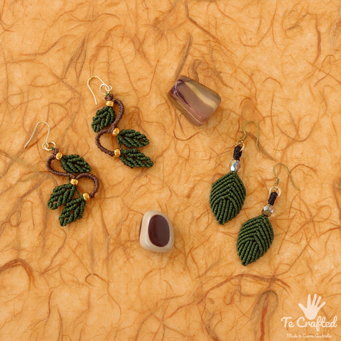 Leaf shaped and three leaves macrame earrings