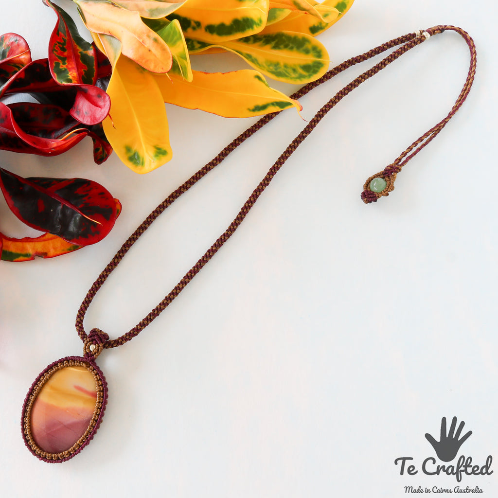 Mookaite macrame necklace a