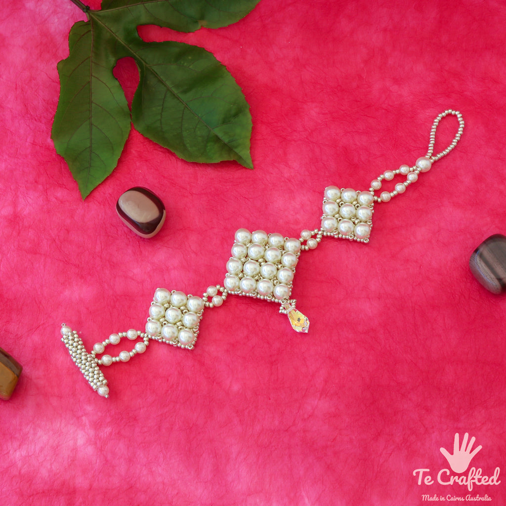 Beaded square wedding bracelet