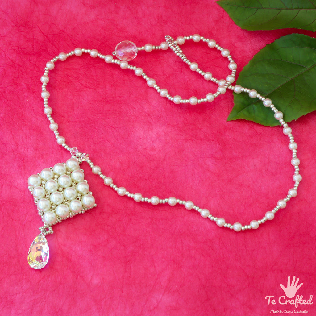 Beaded square wedding pendant and necklace