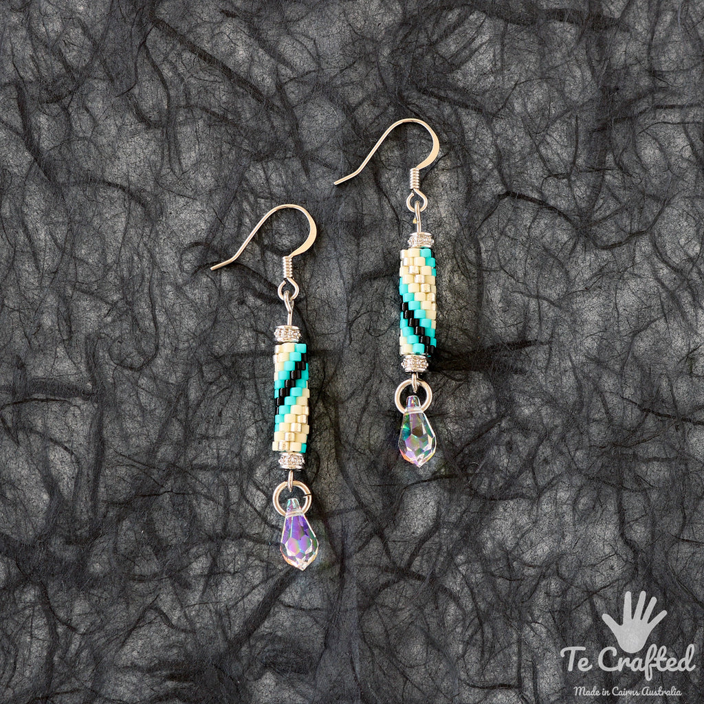 Beaded stick earrings spiral turquoise