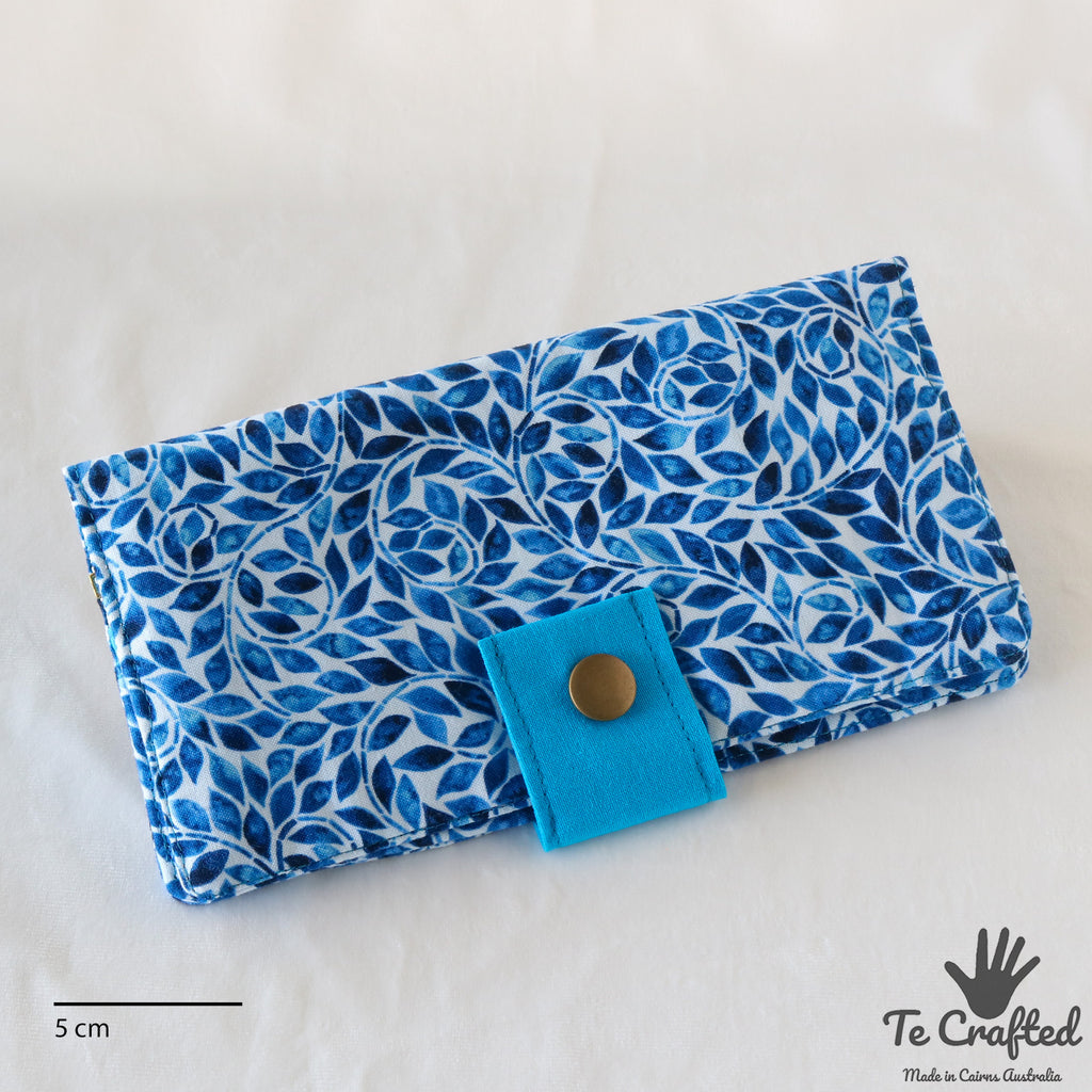Thin Long Wallet Blue Leaves