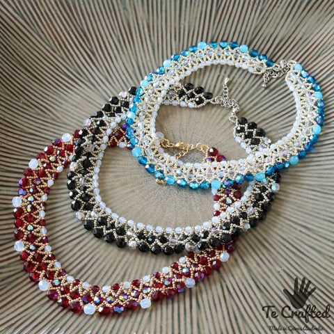 Beaded three strand necklace