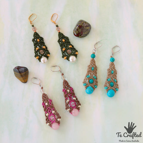 Tree shaped macrame earrings