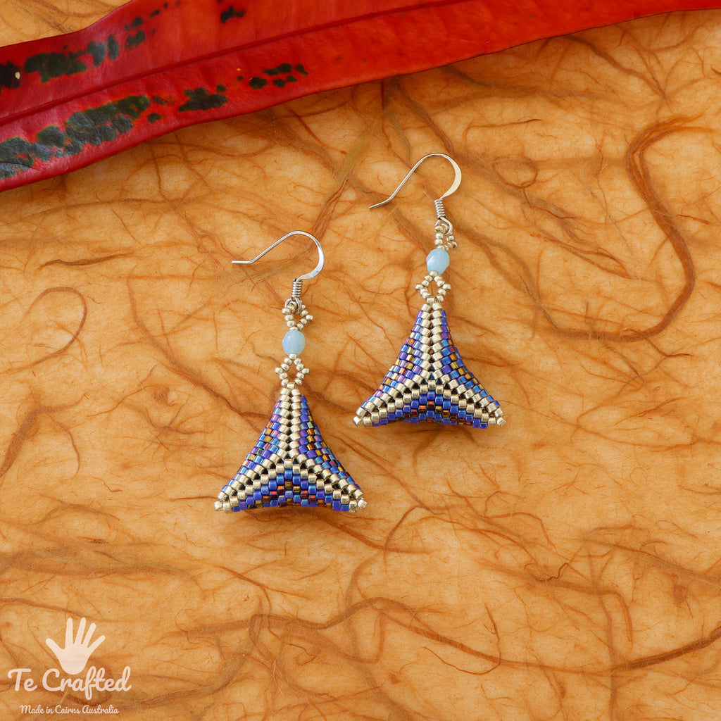 Beaded triangle earrings blue