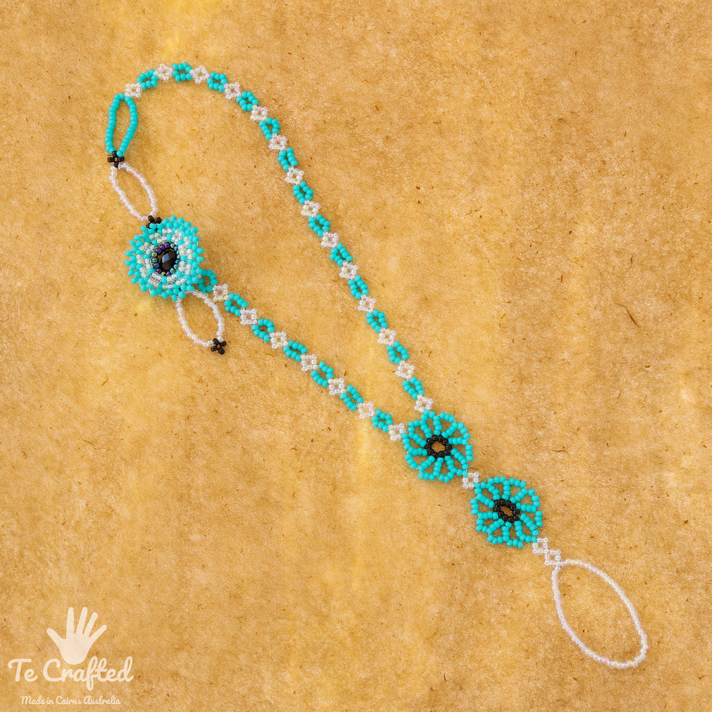 Beaded two flowers anklet turquoise