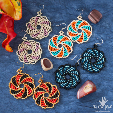 Beaded wheel earrings