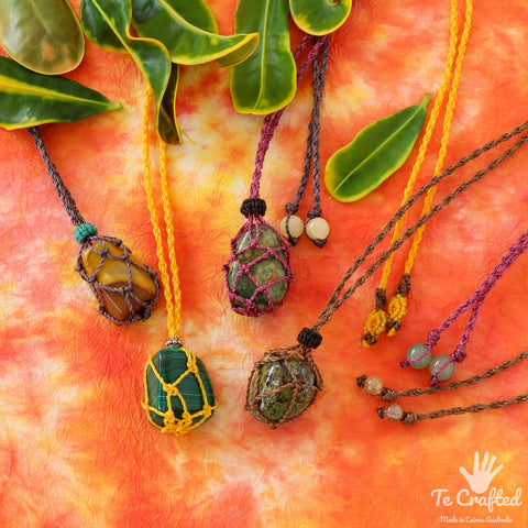 Wrapped stone macrame necklace