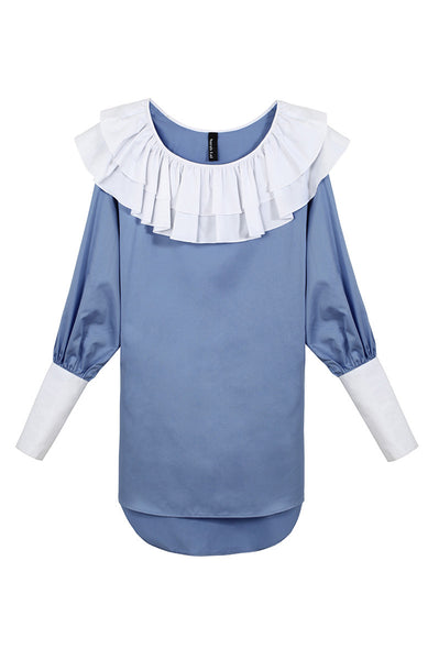 The Charles Blouse (Sky Blue + White) - Sarah Lai