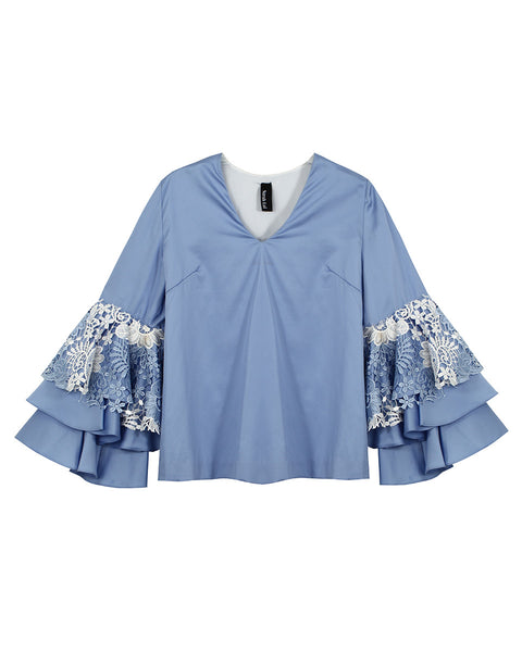 The Dixie Blouse (Sky Blue w/ Lace)