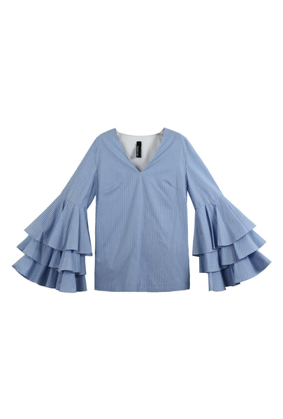 The Dixie Blouse (Blue Stripes)