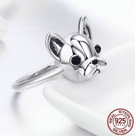 Bague Bouledogue Frenchie (Argent) - Bulldog&CoFolies