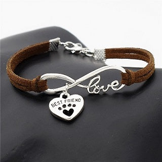 "Bracelet cuir Love ""Best Friend"" 8 coloris - Bulldog&CoFolies"