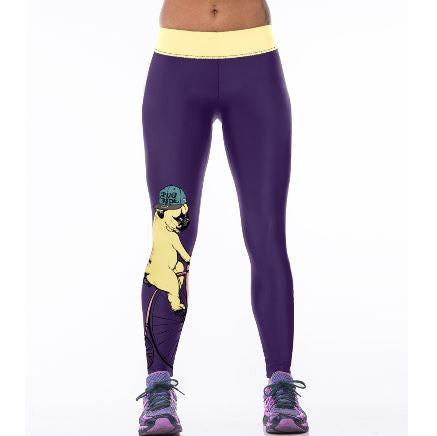 "Leggings fitness femme ""pug ride"" - Bulldog&CoFolies"