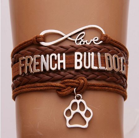 "Bracelet ""Love FRENCH BULLDOG"" plaqué argent - Bulldog&CoFolies"