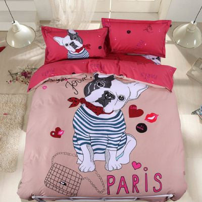 couette housse literie bouledogue rose